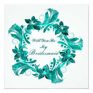 Will You Be My Bridesmaid Colorful Floral Pattern 13 Cm X 13 Cm Square Invitation Card