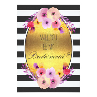 Will You Be My Bridesmaid Colorful Flowers on Gold Card