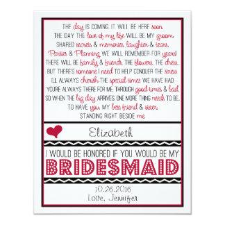 Will you be my Bridesmaid? Deep Red/Black Poem 11 Cm X 14 Cm Invitation Card