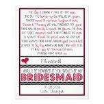Will you be my Bridesmaid? Deep Red/Black Poem Custom Invites