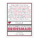 Will you be my Bridesmaid? Deep Red/Black Poem V2 Custom Invites