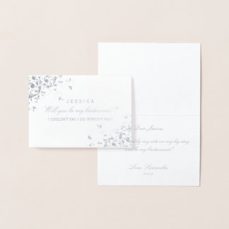 Will You Be My Bridesmaid? Elegant Swirl Foil Card
