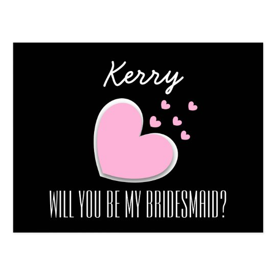 Will You Be My Bridesmaid Explosion of Hearts A01 Postcard
