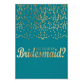 """""""Will You Be My Bridesmaid?"""" Faux Gold Confetti 9 Cm X 13 Cm Invitation Card"""