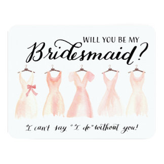 Will You Be My Bridesmaid Five Dresses Peach 11 Cm X 14 Cm Invitation Card