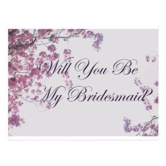 Will you be my bridesmaid floral design postcard