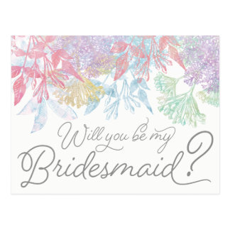 Will You Be My Bridesmaid | Flower Wash Watercolor Postcard