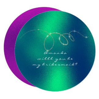 Will You Be My Bridesmaid Frozen Green Bright Pink Card