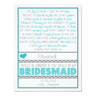 Will you be my Bridesmaid? Fun Blue/Gray Poem Card 11 Cm X 14 Cm Invitation Card