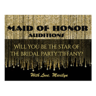 Will You Be My Bridesmaid? Glam Maid of Honor Postcard