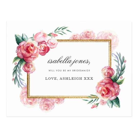 Will You Be My Bridesmaid? | Gold Floral Wedding Postcard