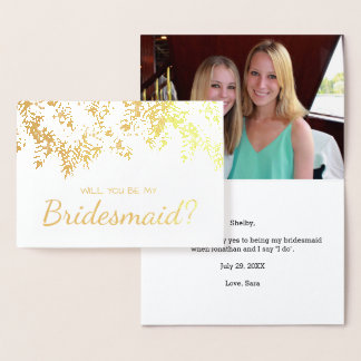 Will You Be My Bridesmaid Gold Foil Palm Leaves Foil Card