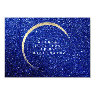 Will You Be My Bridesmaid Gold Glitter Blue Navy Card