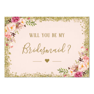 Will You Be My Bridesmaid Gold Glitters Floral Card