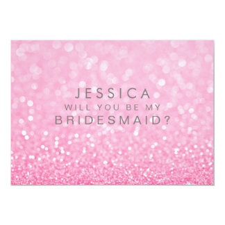 Will You Be My Bridesmaid Gold Pink Ombre 13 Cm X 18 Cm Invitation Card