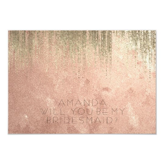 Will You Be My Bridesmaid Golden Rain Copper Rose Card