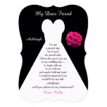 Will You Be My Bridesmaid Gown on Black with Roses 13 Cm X 18 Cm Invitation Card