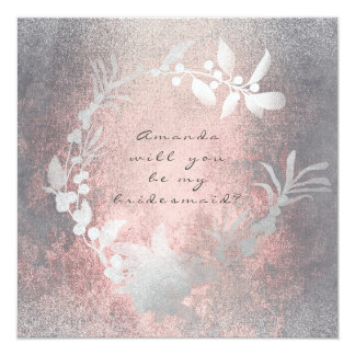 Will You Be My Bridesmaid Gray Pink Grungy Wreath Card