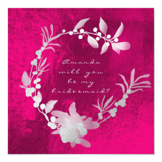 Will You Be My Bridesmaid Gray Silver Pink Wreath Card