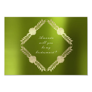 Will You Be My Bridesmaid Green Lemon Floral Card