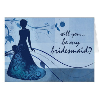 Will you be my bridesmaid in blue greeting card
