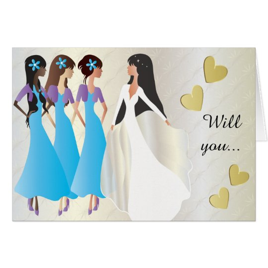 Will you be My Bridesmaid in Blue & Purple Card