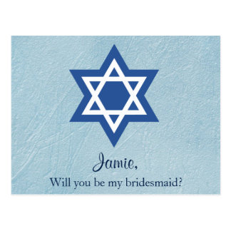 Will You be My Bridesmaid Jewish Postcard