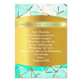 Will You Be My Bridesmaid? Modern Geometric Mint 9 Cm X 13 Cm Invitation Card