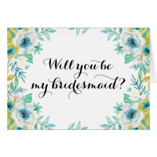 Will You Be My Bridesmaid Modern Vintage Floral Card