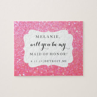 Will You Be My Bridesmaid-MOH Puzzle - Glitter Pnk