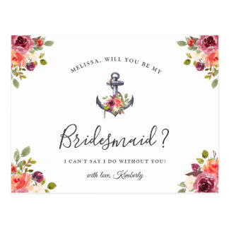 Will You Be My Bridesmaid Nautical Floral Anchor Postcard