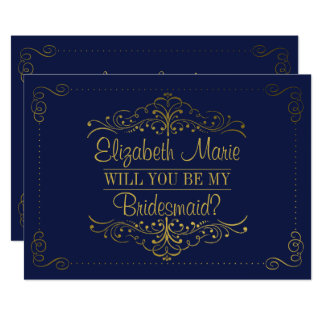 Will You Be My Bridesmaid? Ornate Navy & Gold Card