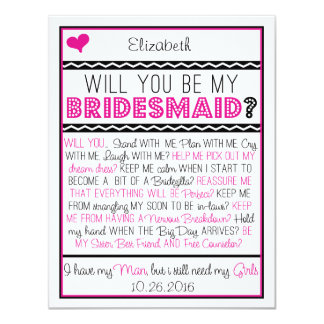 Will you be my Bridesmaid? Pink/Black Collage Card 11 Cm X 14 Cm Invitation Card