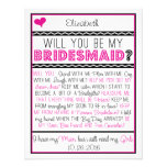 Will you be my Bridesmaid? Pink/Black Collage Card Personalised Invitation