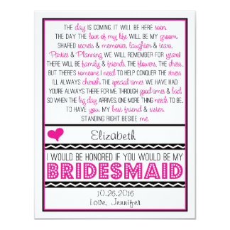 Will you be my Bridesmaid? Pink/Black Poem Card 11 Cm X 14 Cm Invitation Card