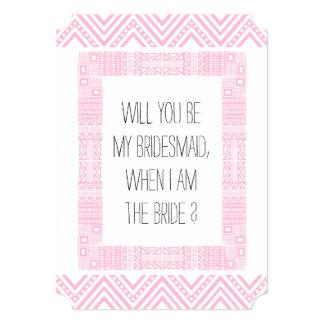 Will you be my Bridesmaid ? Pink Ethnic Boho 1b 13 Cm X 18 Cm Invitation Card