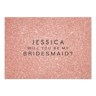Will You Be My Bridesmaid Pink Gold Glitter Card