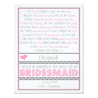 Will you be my Bridesmaid? Pink/Gray Poem Card 11 Cm X 14 Cm Invitation Card