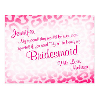 Will You Be My Bridesmaid? Pink Leopard Postcard