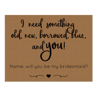 Will you be my bridesmaid? Postcard