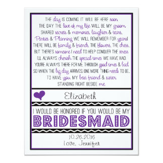 Will you be my Bridesmaid? Purple/Black Poem Card 11 Cm X 14 Cm Invitation Card