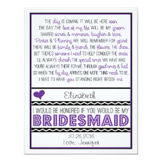 Will you be my Bridesmaid? Purple/Black Poem V2 Card
