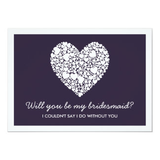 Will You Be My Bridesmaid? Purple Heart Card 13 Cm X 18 Cm Invitation Card