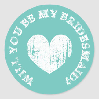 Will you be my bridesmaid request vintage stickers