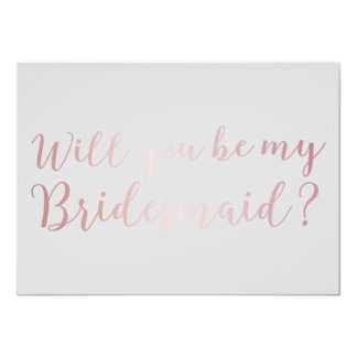Will you be my Bridesmaid Rose Gold Scripts Grey Card