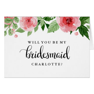 Will You Be My Bridesmaid Rose Watercolor Card