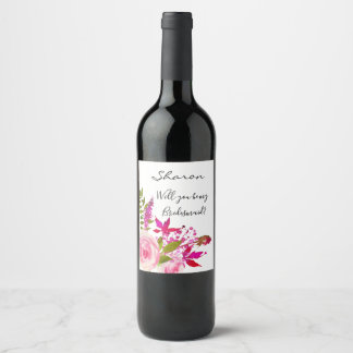 Will you be my bridesmaid roses wine label