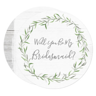 Will You Be My Bridesmaid Rustic Wood & Wreath Card