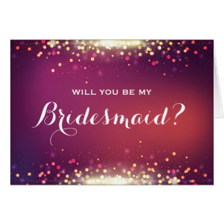 Will you be my Bridesmaid Shiny Gold Sparkle Dots Note Card