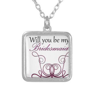Will you be my Bridesmaid? Square Pendant Necklace